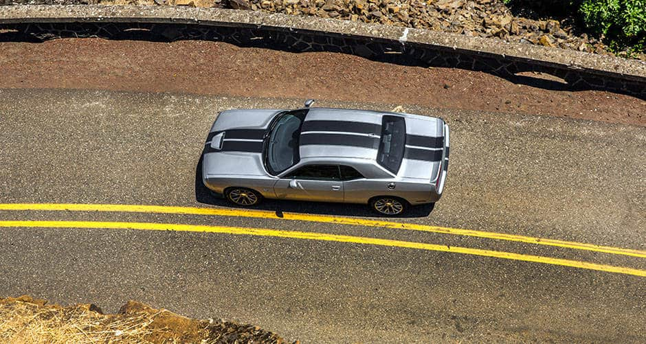Aerial View of Dodge Challenger on Road