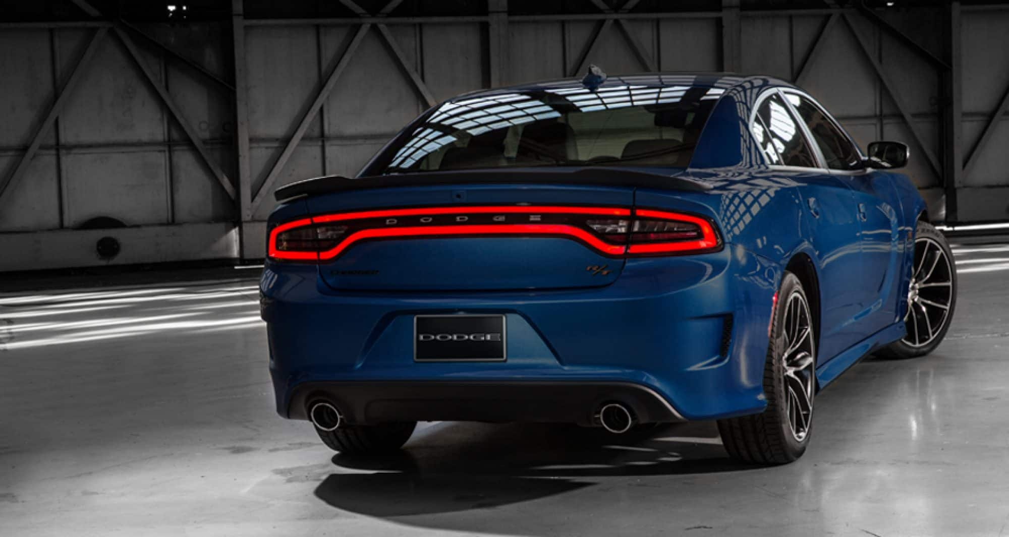 Back view of blue 2018 Dodge Charger
