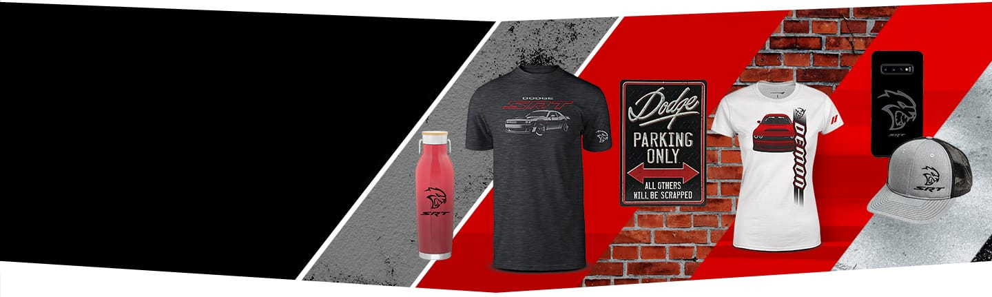 Dodge Brand merchandise including a mug, t-shirts, a sign, wireless earbuds and a cap.